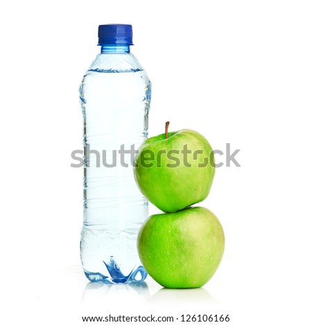 Bottle of sparkling water and green apple
