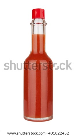 Bottle of spicy, red hot sauce isolated on white background #401822452