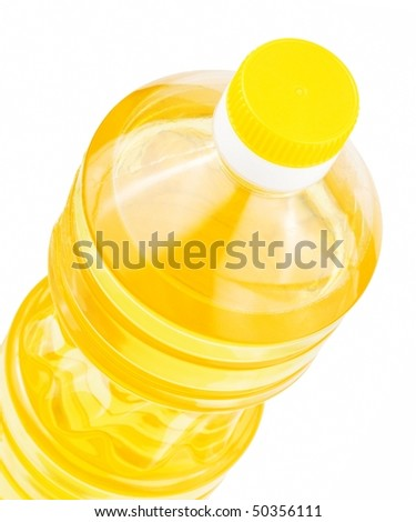 Bottle of sunflower oil isolated on a white background