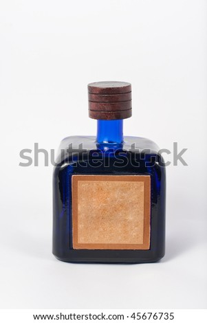 Bottle of tequila isolated on white background with clipping path. Front weiv