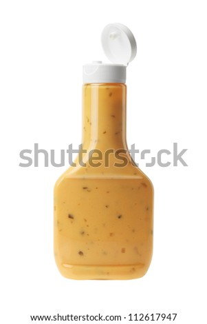 Bottle of Thousand Island Salad Dressing on White Background - stock photo