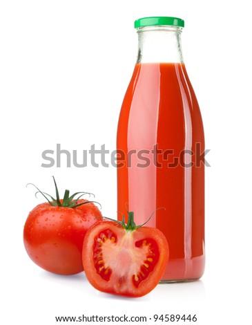 Bottle of tomato juice and ripe tomatoes. Isolated on white background