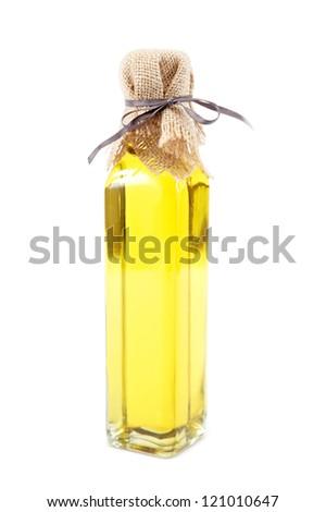Bottle of vegetable oil isolated on white background.