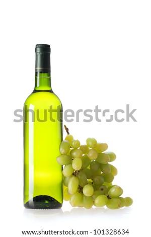 bottle of vine on  white background