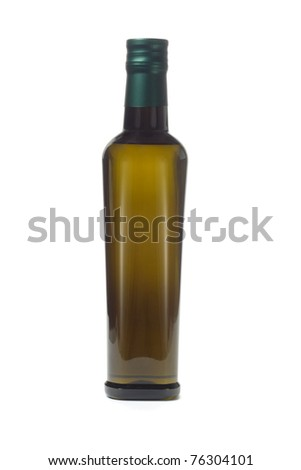 Bottle of virgin olive oil on white background