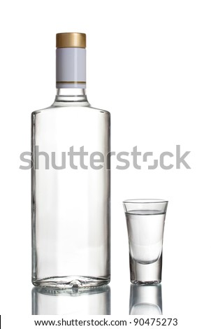 Bottle of vodka and wineglass isolated on white - stock photo