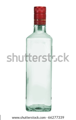 Bottle of vodka isolated on white background