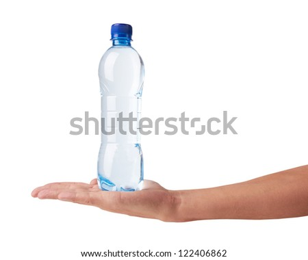 bottle of water in hand isolated on white background