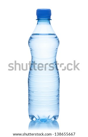 Bottle of water, isolated on the white background, clipping path included.