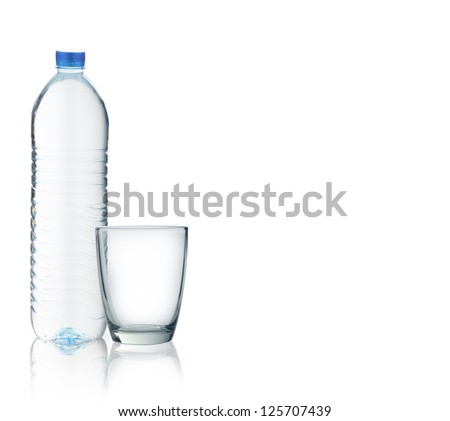 Bottle of water with a glass isolated on white