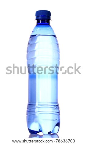 Bottle of water with water drops on blue background