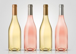 Bottle of white and rose wine with white background. Mock up for labels.