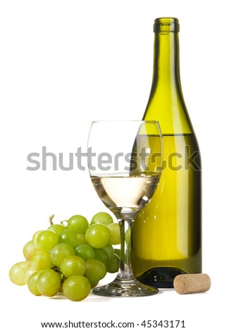Bottle of white wine and grapes, isolated on white background