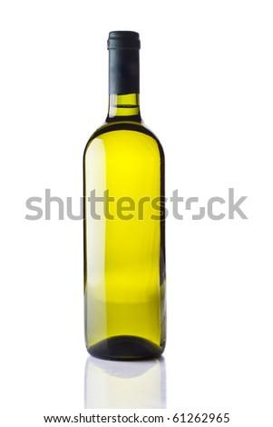 bottle of white wine isolated on white