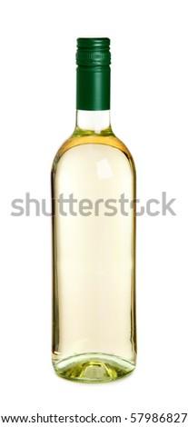 Bottle of white wine isolated on white background
