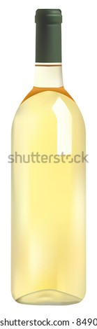 bottle of white wine on white background, vector version available