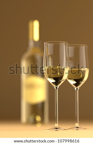Bottle of white wine with glass on bottom and top reflective.