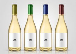 Bottle of white wine with white background. Mock-up for labels.