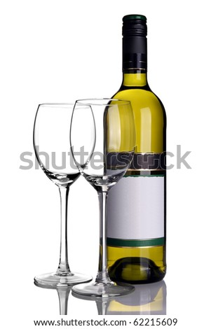 Bottle of white wine with wine glasses