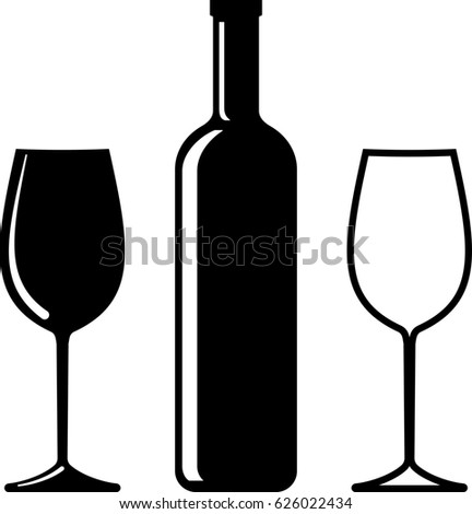 Bottle Of Wine And Glass  Raster Illustration