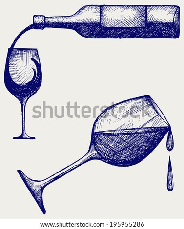Bottle of wine and glasses. Doodle style. Raster version