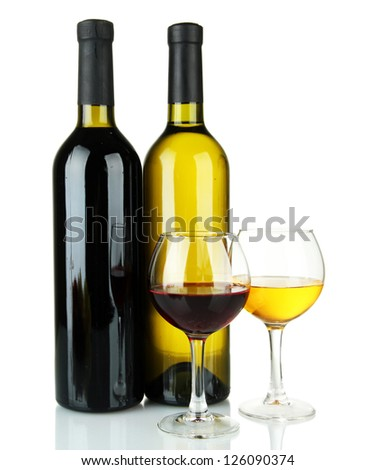 bottle of wine and glasses isolated on white