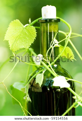 Bottle of Wine and grape leaves