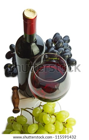 bottle of wine and grapes isolated on white background - stock photo