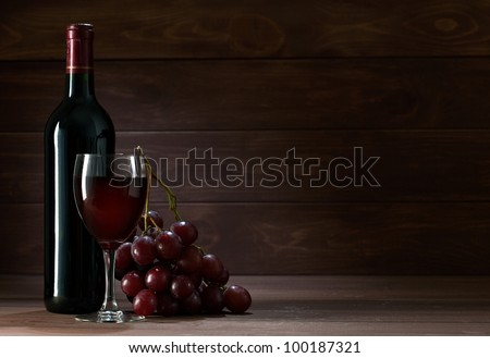 bottle of wine in the cellar of  wooden