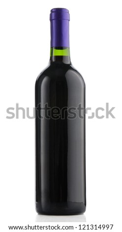 Bottle of wine on white background - stock photo