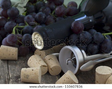 bottle of wine with corks and grape