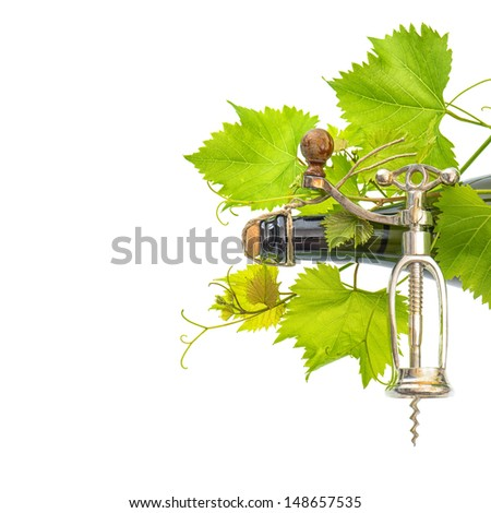 bottle of wine with corkscrew and fresh green vine leaves over white background with space for your text