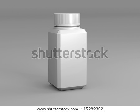 Bottle on a white background standing upright one