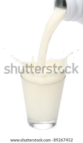 Bottle pouring milk into a glass. Splash