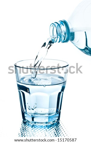 bottle pouring water into a blue glass