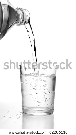 bottle pouring water on a glass