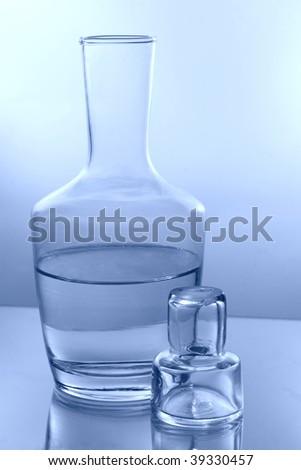 bottle water blue glass drink