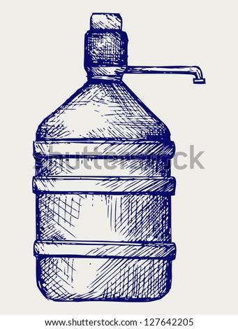 Bottle water. Doodle style. Raster version