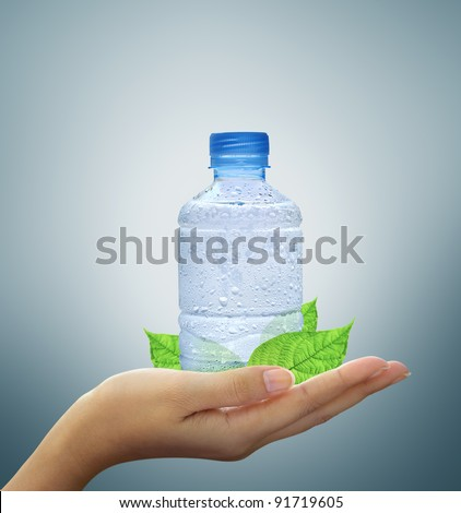 bottle water mineral and leaf in hand