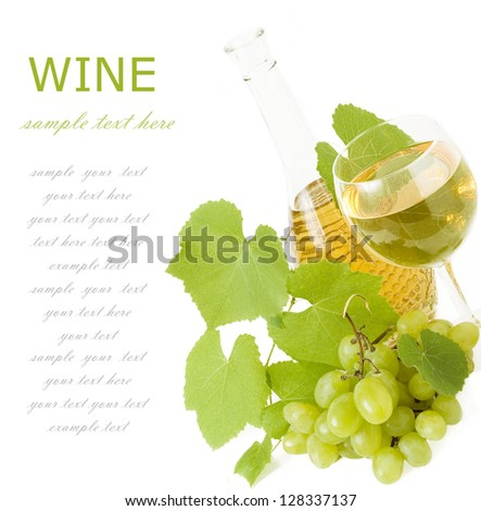 Bottle wine,wine glass, grapes and vine isolated on white background