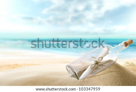 bottle with a message - stock photo