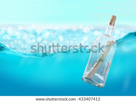 Bottle with a message in the water. #433407412