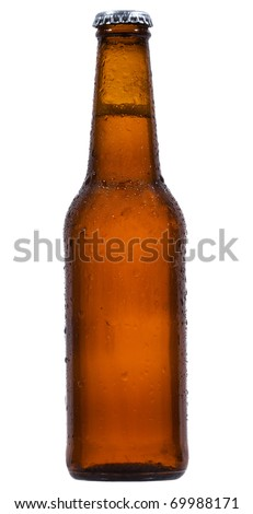 Bottle with beer with water drops on white background