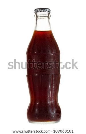 Bottle with cola on white background