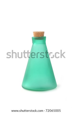 bottle with cosmetic mean closed by stopper isolated on white