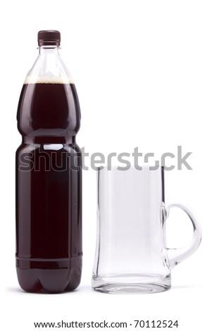 Bottle with dark beer. Mug. Flask.