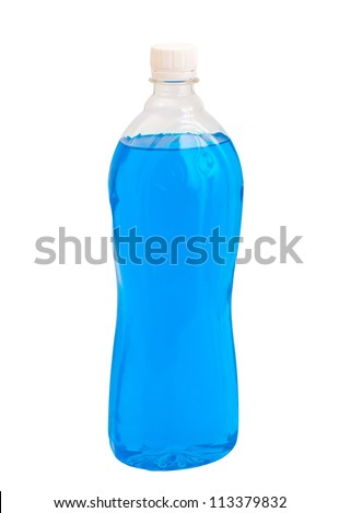 bottle with liquid chemicals blue color