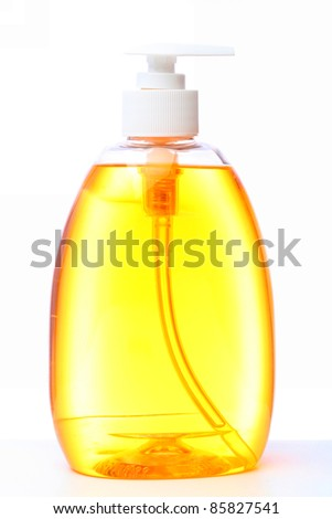 bottle with liquid soap isolated on white background.