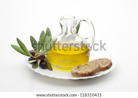 bottle with olive oil isolated on white background