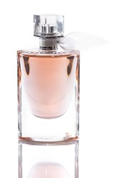 bottle with perfume isolated on white background